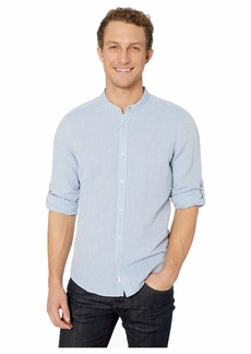Perry Ellis Solid Linen Cotton Rolled Sleeve Banded Collar Shirt