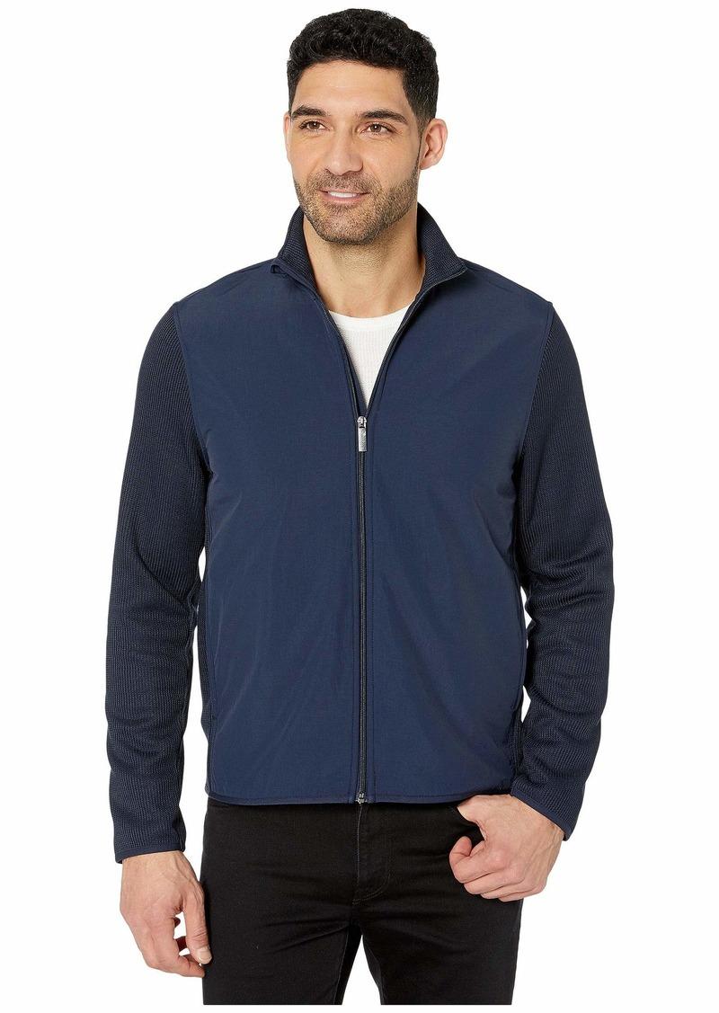 Perry Ellis Solid Stretch Full Zip Fleece Long Sleeve Shirt
