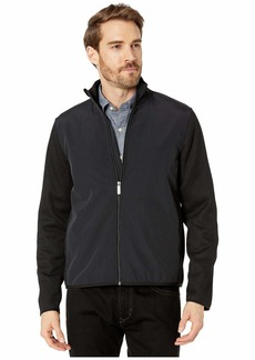 Perry Ellis Solid Stretch Full Zip Fleece Long Sleeve Shirt