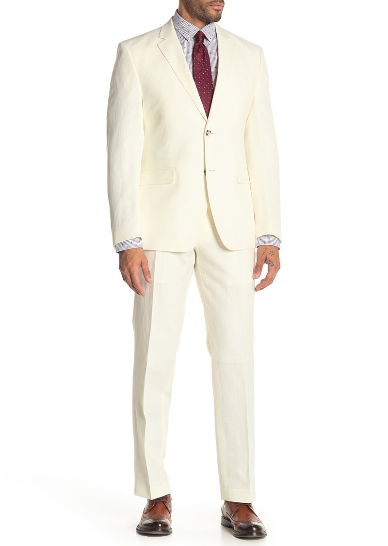 Perry Ellis Solid White Two Button Notch Lapel Slim Fit Linen Blend Suit