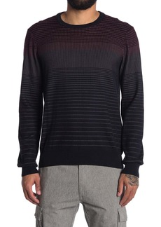 Perry Ellis Stripe Print Crew Neck Sweater