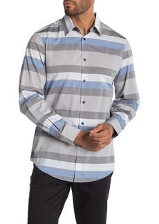 Perry Ellis Stripe Print Slim Fit Shirt
