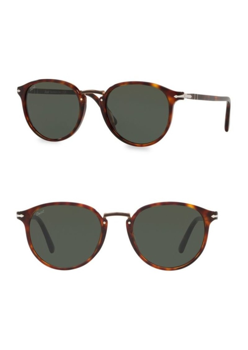 Persol 54MM Havana Round Acetate Sunglasses