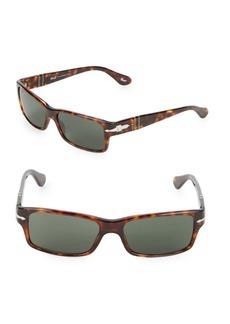 Persol 55MM Tortoiseshell Rectangular Sunglasses