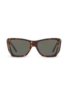 Persol Havana 57MM Squared Wrap Sunglasses