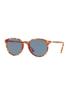 Persol Men's PO3210S Oval Acetate Keyhole Sunglasses - Solid Lenses