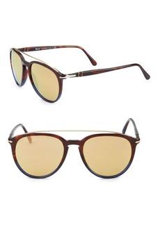 Persol Striped 55MM Pilot Sunglasses