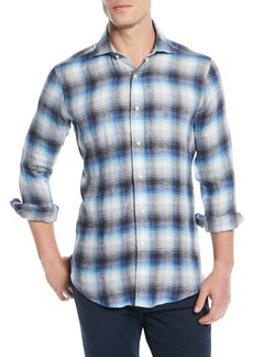 Peter Millar Bisti Brushed Linen Plaid Sport Shirt