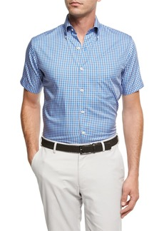 Peter Millar Crown Soft Check Short-Sleeve Cotton Sport Shirt