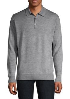 Peter Millar Honeycomb Wool & Silk Long-Sleeve Polo