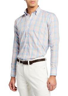 Peter Millar Men's Amalfi Check Long-Sleeve Sport Shirt