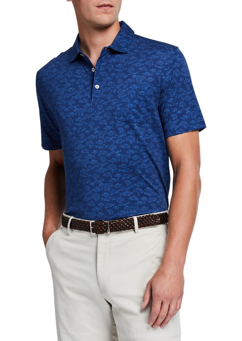 Peter Millar Men's Fish-Print Polo Shirt