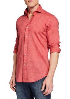 Peter Millar Men's Long-Sleeve Summertime Linen Sport Shirt