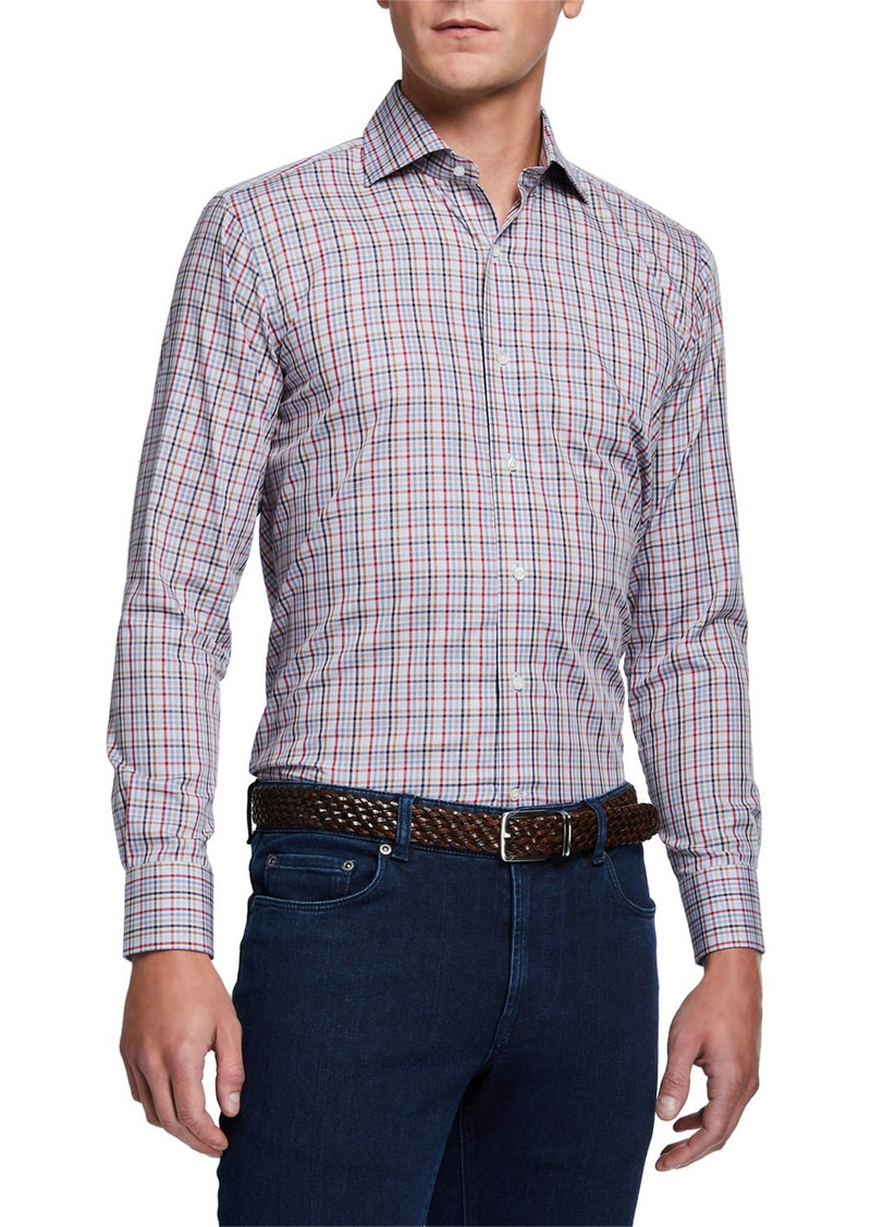 Peter Millar Men's Multicolored Small-Check Long-Sleeve Sport Shirt