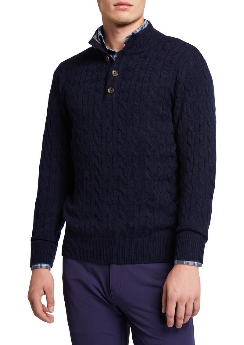 Peter Millar Men's Quarter-Button Cable-Knit Sweater