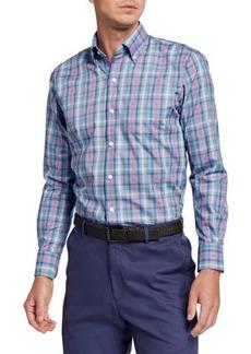 Peter Millar Men's Woven Check Long-Sleeve Sport Shirt