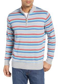 Peter Millar British Grey Classic Fit Stripe Quarter Zip Pullover