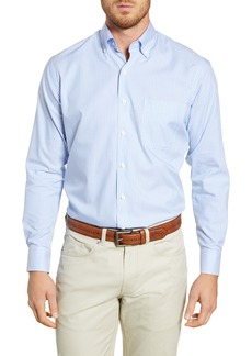 Peter Millar Capri Regular Fit Stretch Cotton & Silk Stripe Button-Down Sport Shirt
