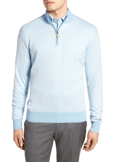 Peter Millar Crown Bird's Eye Cotton & Silk Quarter Zip Sweater