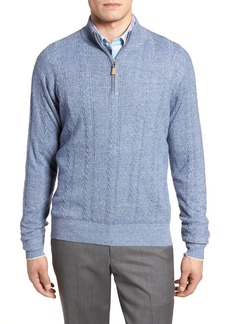 Peter Millar Crown Fleece Cashmere & Linen Quarter Zip Sweater
