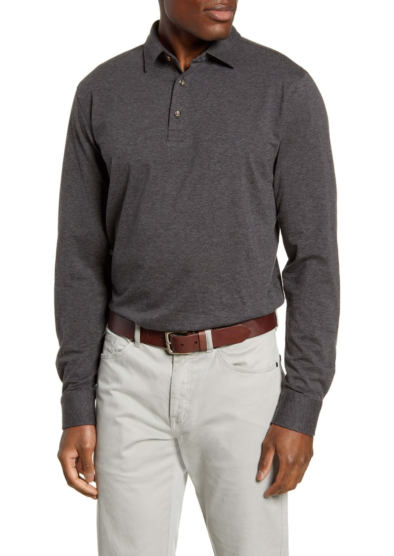 Peter Millar Crown Fleece Long Sleeve Stretch Cotton & Cashmere Polo