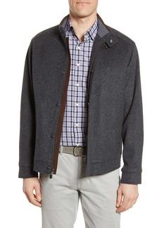 Peter Millar Crown Flex Fleece Wool Bomber Jacket