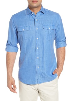 Peter Millar Harkers Regular Fit Herringbone Sport Shirt