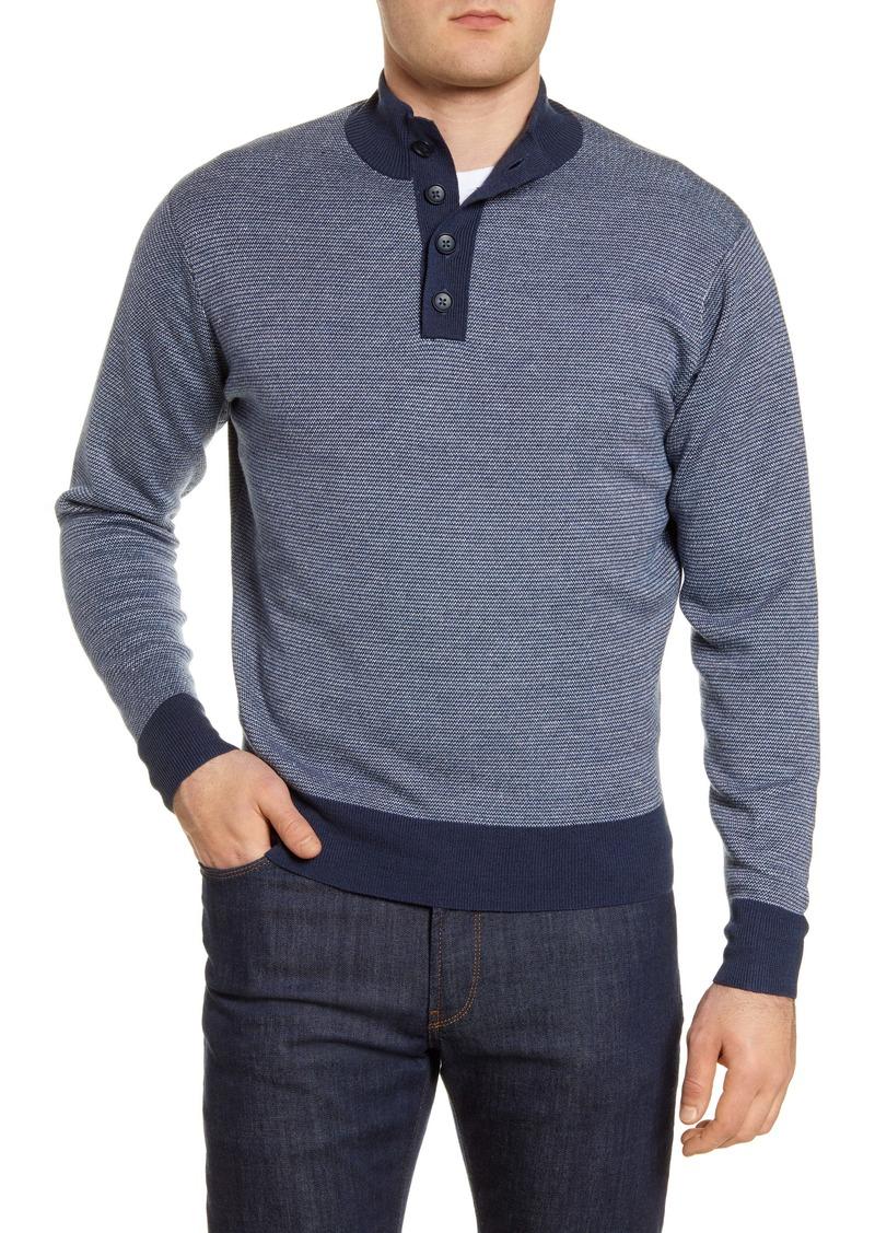 Peter Millar Henley Mock Neck Wool & Linen Sweater