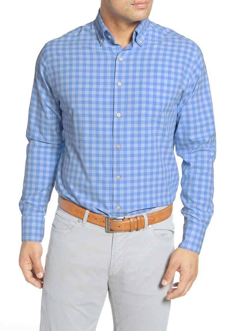 Peter Millar Jordan Natural Touch Regular Fit Gingham Button-Down Performance Shirt