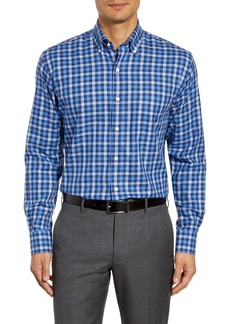 Peter Millar Moorland Regular Fit Stretch Cotton & Cashmere Check Button-Down Sport Shirt
