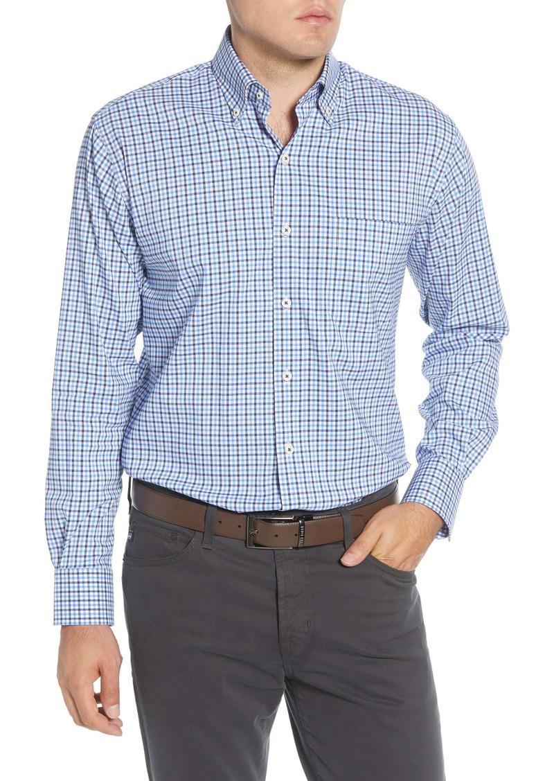 Peter Millar Park City Regular Fit Stretch Check Button-Down Sport Shirt