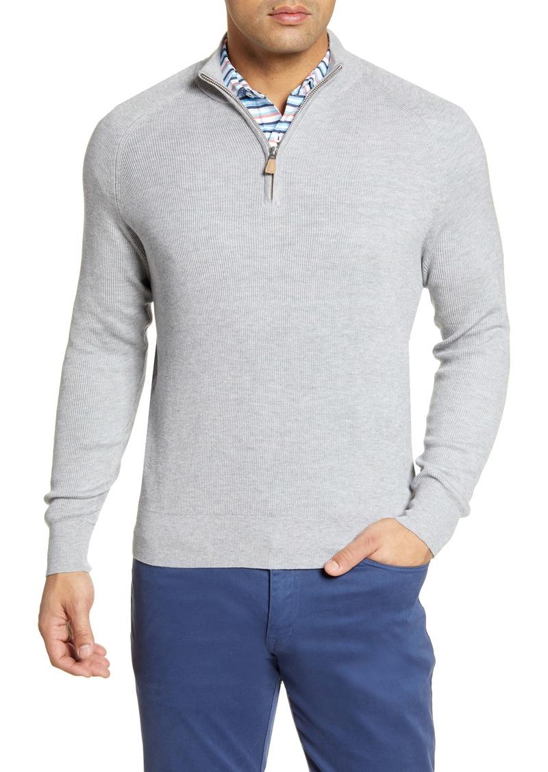 Peter Millar Quarter Zip Ribbed Pullover