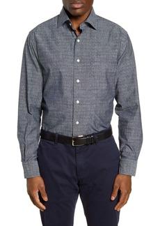 Peter Millar Regular Fit Arrowhead Chambray Button-Up Shirt
