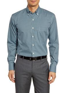 Peter Millar Regular Fit Stretch Cotton & Silk Check Button-Down Sport Shirt