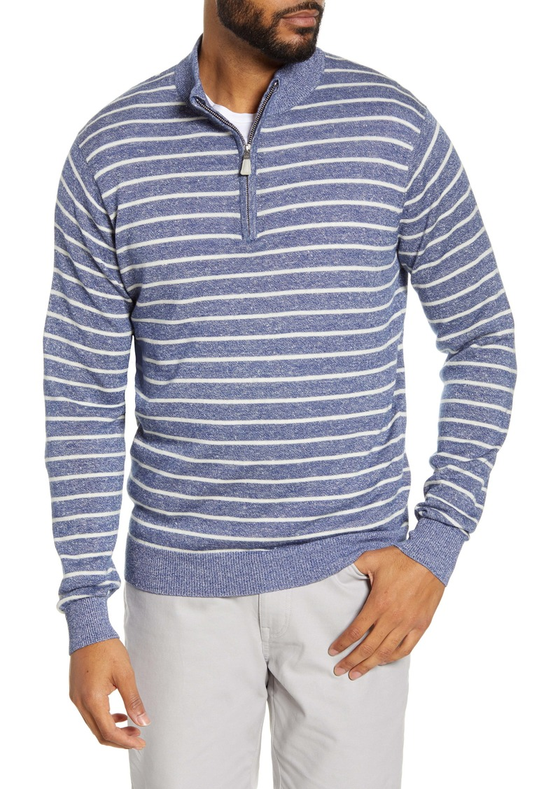 Peter Millar Wells Stripe Quarter Zip Wool & Linen Pullover