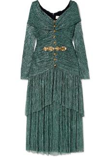 Peter Pilotto Crystal-embellished Plissé-lamé Midi Dress