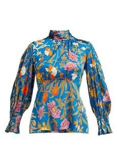 Peter Pilotto Botanical-print hammered silk-blend blouse
