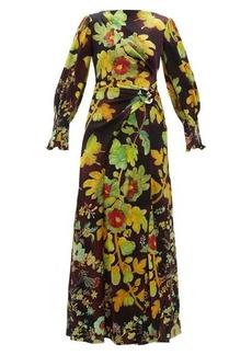 Peter Pilotto Botanical-print silk-blend cloqué maxi dress
