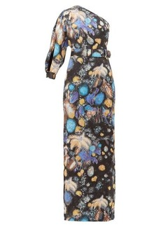 Peter Pilotto Celestial floral-print one-shoulder satin gown