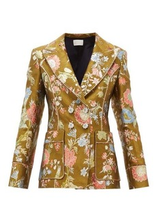 Peter Pilotto Double-breasted floral-brocade blazer