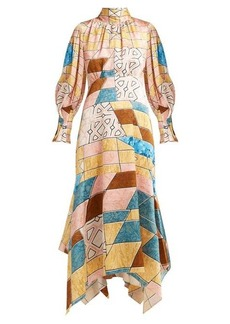 Peter Pilotto Geometric-print hammered silk-blend midi dress