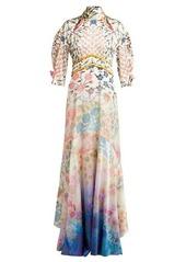 Peter Pilotto Gradient floral-print silk-blend gown