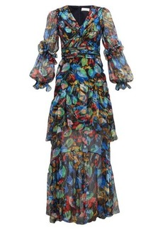 Peter Pilotto Iridescent floral-print silk-blend dress