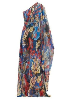 Peter Pilotto Leaf-print one-shoulder silk gown