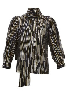 Peter Pilotto Metallic fil-coupé silk-blend blouse