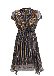 Peter Pilotto Metallic striped silk-blend chiffon dress