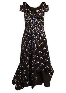 Peter Pilotto Off-the-shoulder dot-print stretch-cady dress