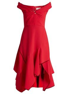 Peter Pilotto Off-the-shoulder handkerchief-hem cady dress
