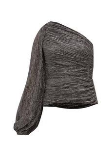 Peter Pilotto One-shoulder plissé lamé top