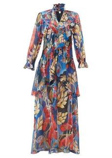 Peter Pilotto Ruffle-trim floral-print silk-georgette gown